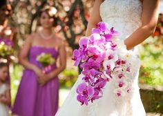 cascading, fuchsia orchid bouqet