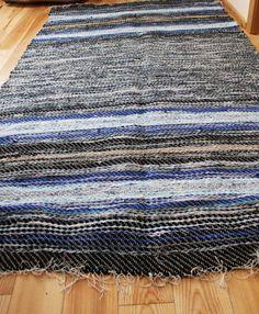 Large Handwoven Rag Rug Woven Rag Rugs Recycled Sheets Dark Blue Black Light Blue White Gray