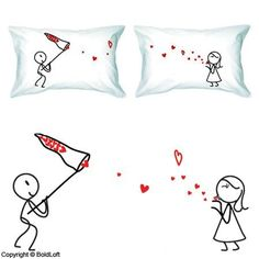 """BoldLoft """"Catch My Love"""" Couple Pillowcases-Cute Couple Gifts,Romantic Anniversary Gifts,Wedding Gifts for Couple,Valentine's Day Gifts,Cute Birthday Gifts,Gifts for Him,Gifts for Her BoldLoft,http://www.amazon.com/dp/B000Z98JU4/ref=cm_sw_r_pi_dp_Yq6Bsb1WDM37004G"""