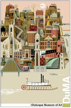 Dubuque Landmarks by Kirsten Ulve (available to purchase from the Dubuque Museum of Art)