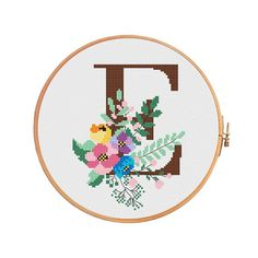 Flover Botanical letter E cross stitch pattern letter E