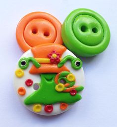 Lady Snail - set of 3 polymer clay