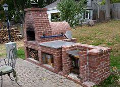 brick pizza oven outdoor Visco Family Wood-Fired Outdoor Brick Pizza Oven Wood Fired Brick Pizza Oven and Brick BBQ Grill Brick Grill, Brick Oven Outdoor, Pizza Oven Outdoor, Brick Ovens, Outdoor Bars, Fire Pit Grill, Bbq Grill, Grill Oven, Grilling Burgers