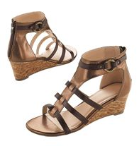 Metallic Zipper-Back Microwedge  Reg. $29.99  Strappy sandals slip on with a zip!