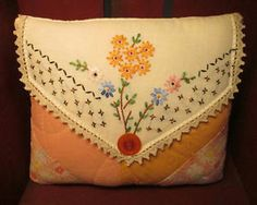 Sweet Handmade Pillow w/Vintage Quilt and Vintage Linen - Embroidered Daisies