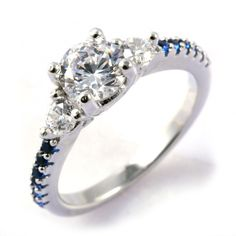 Thin band engagement ring, lots of sparkle!