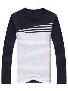 979d4481eb4 Crew Neck Color Block Stripe Panel T-Shirt. Long Sleeve ...