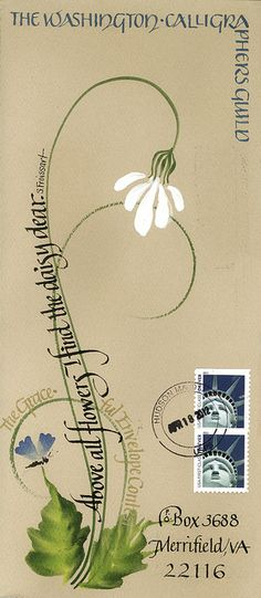 Gerry Jackson Kerdok by WashCalligraphersGuild - beautiful mail art. Mail Art Envelopes, Addressing Envelopes, Letter Writing, Letter Art, Envelope Art, Envelope Design, Decorated Envelopes, Calligraphy Letters, Lost Art