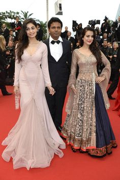 Puja Gupta and Ameesha Patel (R) and director Susi Ganeshan (back) at the screening of the film 'All is Lost' at Cannes Film Festival in Cannes 2013 #Bollywood #Fashion