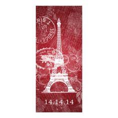 Elegant Wedding Menu Romantic Paris Red Personalized Invitations