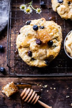 Blueberry Brie Cornbread Biscuits with Honey Butter