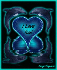 Click to get the codes for this image. This glitter graphic shows 2 dolphins jumping in the air and forming a heart between them. They are reflected in an animated pool. The comment reads: I Love You!