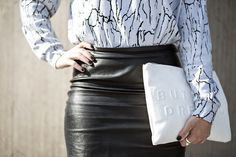 OUTFIT | 3.2 MARBLE SWEATER - llittleblonde Photo by Pim van Baalen details, street style, marble print, pencil skirt, leather clutch, white clutch