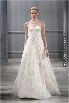 Monique Lhuillier romantic wedding dress on French Wedding Style Blog   VIA #WEDDINGPINS.NET
