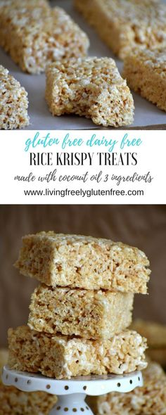 Gluten free and dairy free Rice Krispy Treats. 3 simple ingredients. Easy to make. www.livingfreelyg... Coconut Oil rice krispy treats. Gluten free rice krispy treats. Dairy free rice krispy treats. Simple rice krispy treats. Easy gluten free re