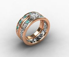 White sapphire and aquamarine engagement ring set made from rosé gold and white gold by TorkkeliJewellery, $3250.00