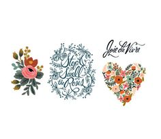 Floral Set by Rifle Paper Co. from Tattly Temporary Tattoos. Fake tattoos by real artists! Tattly Tattoos, Fake Tattoos, Flower Tattoos, Tatoos, Glitter Tattoos, Tattoo Fonts, Temp Tattoo, Tattoo Set, Temporary Tattoo