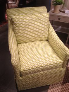 High Point Market Spring 2012-Green little club chair in a great little mini-print dotted fabric. I think it's a swivel chair to boot but not certain...