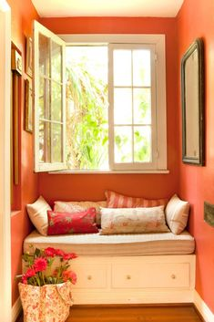 Every corner of the home is put to use, such as this cozy nook that boasts comfortable seating and a lovely view through French-style windows. French Cottage Style, French Country Bedrooms, French Country Style, French Country Decorating, French Decor, Farmhouse Style, Yellow Accent Walls, French Doors Patio, Romantic Homes