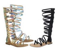 "New Women Thong Open Toe Criss Cross Strappy Knee High Flat Gladiator Sandal Zip    Color: Black, White Holographic, RainbowHolographicMaterial: VeganHeel: 0.25"" https://buttermintboutique.com/product/new-women-thong-open-toe-criss-cross-strappy-knee-high-flat-gladiator-sandal-zip/"