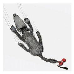 Autorska ilustracja, Czerwony Kapturek i Wilk / Illustration of Little Red Riding Hood