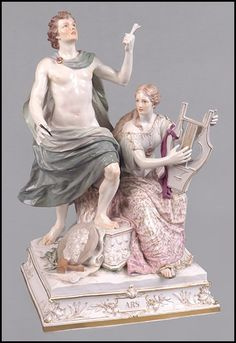 MEISSEN PAINTED AND PARCEL GILT FIGURAL GROUP. : Lot 1262097