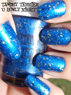 """@Tawdry Terrier """"O Howly Night"""" layered over @China Glaze """"Blue Bells Ring"""" in the sun - shop at https://www.etsy.com/shop/TawdryTerrier #nailpolish #indienailpolish #tawdryterrier #christmas #hanukkah #chanukah #chanukkah #chinaglaze"""