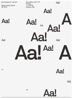 After the successful release of Neubau's popular NB International™ Pro in let's introduce its conceptual successor:NB Akademie™ Std/ProNB Akademie™ is a contemporary grotesque type system designed by Stefan Gandl comprising of 20 styles: Light, … Graphisches Design, Typo Design, Poster Design, Poster Layout, Graphic Design Art, Graphic Design Inspiration, Layout Design, Print Design, Editorial Design