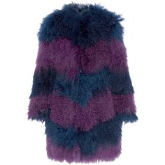 House of Holland Chevron shearling coat (€1.060) ❤ liked on Polyvore featuring outerwear, coats, coats & jackets, jackets, blue, sheep fur coat, collarless coat, purple coat, house of holland and blue coat