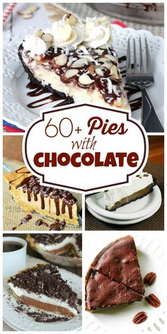 60+ Pies with Chocolate - Perfect round up for the holidays for all those chocolate lovers!