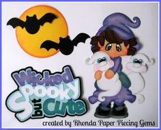 HALLOWEEN CUTE WITCH paper piecing set Premade Scrapbook Pages Die Cut Rhonda