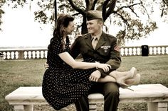 vintage military engagement photos