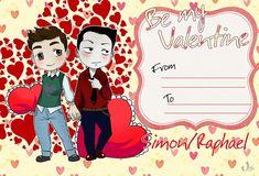 Be my valentine ...  From umkasandiary ... shadowhunters, the mortal instruments, saphael, simon lewis, raphael santiago, vampire