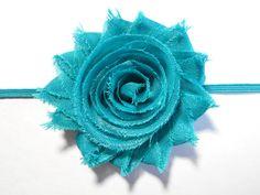 Baby Girl Headband  Teal Shabby Flower Headband by mmslittleshoppe