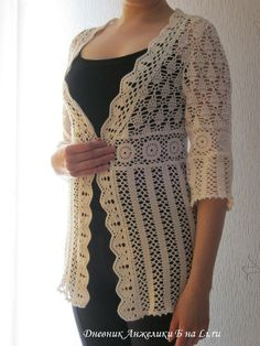 crochet chart Crochet Buttons, Crochet Yarn, Free Crochet, Knit Crochet, Crochet Jacket, Crochet Cardigan, Lacey Tops, Filet Crochet Charts, Knit Fashion
