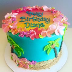 Pretty Photo of Hawaiian Birthday Cake - Luau party ideas - Pastel de Tortilla Birthday Cakes For Men, Hawaii Birthday Cake, Hawaii Cake, Themed Birthday Cakes, Themed Cakes, Happy Birthday, Aloha Cake, Birthday Ideas, Amazing Birthday Cakes