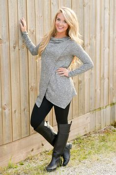 10% off & FREE shipping with code REPJENNIFER!  All Wrapped Up Tunic - Grey