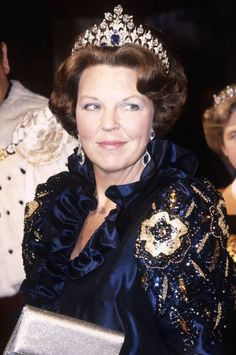"royaltiaras: "" Queen Beatrix of the Netherlands, wearing the Diamond and Sapphire tiara. """