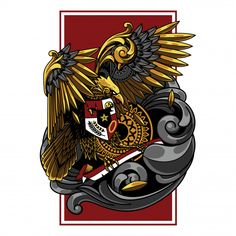 Garuda indonesia illustration, tattoo and tshirt design Premium Vector Design Vector, Art Design, Logo Design, Png Vector, Vector Art, Indonesian Art, Batik Art, Dark Fantasy Art, Design Reference