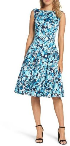 Women's Maggy London Blossom Bunch Fit & Flare Dress Strategic princess seams distinguish the figure-flattering silhouette of a bold fit-and-flare dress that will take you from work to weekending or a warm-weather event. Brand: MAGGY LONDON. Style Name:Maggy London Blossom Bunch Fit & Flare Dress
