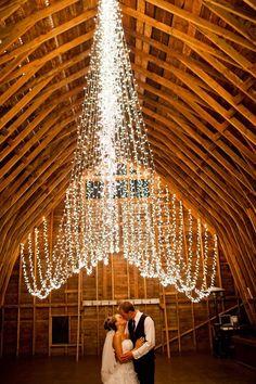 String lights in a barn.