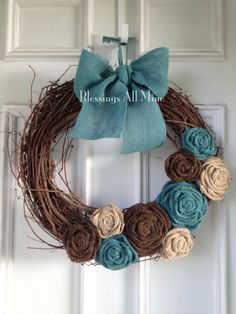 18 inch Grapevine Wreath Burlap Brown Neutral by BlessingsAllMine, $41.00