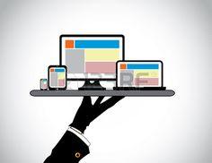 hand presenting desktop computer laptop tablet smart phone website template on pc computer laptop ta Stock Vector