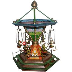 `Bergmann Vienna Bronze Music Box Merry-Go-Round With Six Frogs, MUSEUM QUALITY