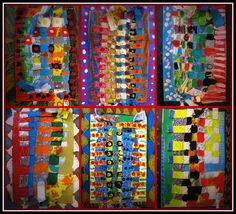 fabric strips, cardboard and paint