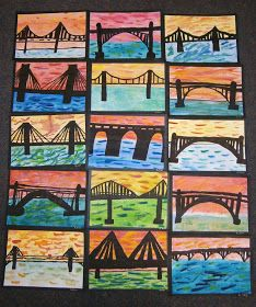 some of beautiful bridge silhouettes Lesson Background: My class. some of beautiful bridge silhouettes Lesson Background: My class have been engaged in a Technology unit for the past few week. Third Grade Art, Grade 3 Art, 7 Arts, Ecole Art, Cool Art Projects, Art Club Projects, Art Education Projects, Art Lessons Elementary, Art Lesson Plans