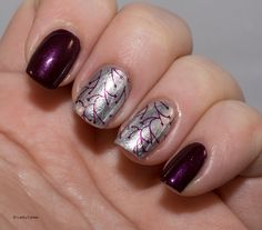 Lacky Corner: Lustré - Barossa & Platinum with stamping from Vivid Lacquer plate 014