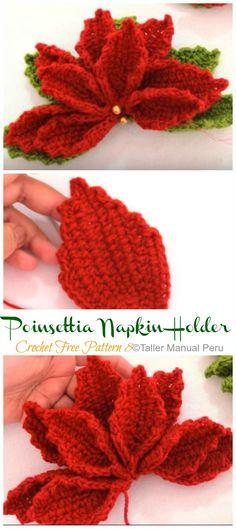 Crochet Poinsettia Christmas Flower Free Patterns - Crochet and Knitting Crochet Poppy Free Pattern, Free Crochet, Crochet Hats, Crochet Ideas, Poinsettia Flower, Christmas Flowers, Christmas Crafts, Christmas Crochet Patterns, Flower Images