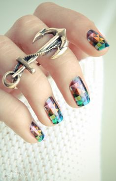 Geometric nail wraps and that ring! <3 <3 <3