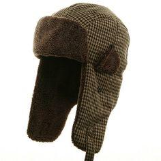 Tweed Sherpa Lining Trooper Hat-Brown W28S35E
